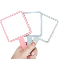 Plástico quadrado da mão Espelhos Handle compo a vista de vidro transparente Plano Muti Cor Segurável Maquiagem Espelho Decoração 4 canais C2