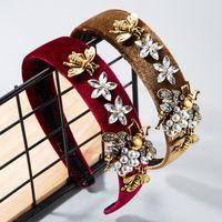 Colorful Crystal Fascia per donna vintage Simulata perla Bumble Ape Tessuto Capelli Band Band Bride Accessori per capelli da sposa