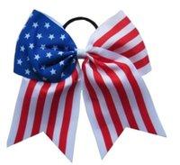 8PCS trasporto PIEGA 4 luglio 7 pollici capelli bandiera americana JOJO SWIA arco Cheer Bow Stars and Stripes chip di fascia elastica ragazza accessori per capelli