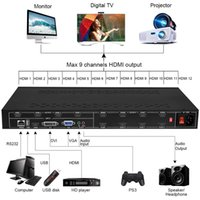 Freeshipping 12 canales TV HD-MI Video Wall Controller con 3x4 2x6 2x5 2x4 3x3 3x2 2x2 Modo de empalme HD-MI DVI VGA USB Procesador de video USB