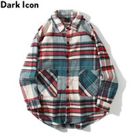 Dark Plaid Shirt Jacket Men Winter Thick Men' s Jackets ...
