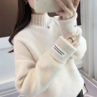 Lucyever hiver Femmes Pull à col roulé à manches longues Mode en vrac épais de base Femme coréenne Top Automne pull en tricot