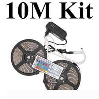 Edison2011 5m kilts 10m kits Flexible SMD 5050 RGB Led Strip Light 12V 150Leds Waterproof 30Leds M with Controller and 3A Adapter