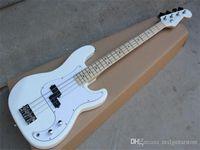 Fábrica blanca de encargo 4 cuerdas 20 trastes de la guitarra bajo eléctrico con White Pickguard, arce diapasón, se puede personalizar