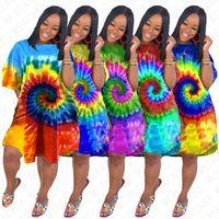 S-3XL 디자이너 넥타이 염료 드레스 여름 특 대형 느슨한 드레스 여성 짧은 소매 롱 티셔츠 전체 비키니 커버 Rainnbow 컬러 2020 D71611