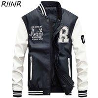 RIINR Осень и зима новый мужской молния кожаной одежды тенденции моды бейсбол равномерное письмо печати PU вскользь куртка M-4XL CX200804