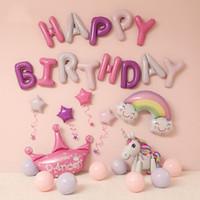Il buon compleanno Balloons Effetto metallizzato Balloons Birthday Party Decoration Alfabeto dei bambini Air Balloons Baby Shower Unicorn Ragazza Ragazzo