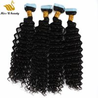PU Saç Atkı Su Dalga İnsan Saç Paketler Cilt Atkı Uzantıları Çift Yüzlü Yapıştırıcı Bant Saç bir paket 8-30inch 40pcs