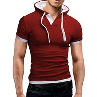 7Colors Kapuze Herren-T-Shirts Piping beiläufige Gym beiläufigen Mens-Entwerfer-Sommer-T-Shirts Kurzarm Herren Basic-Tops