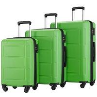 """3 Pcs Juego de equipaje, Portátil ABS caja de la carretilla 20"""" / 24"""" / 28"""" Green, Ampliable 8-Wheel Spinner Spinner Juego de equipaje con telescópicos de la manija, C"""