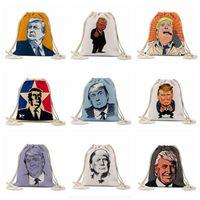 حقيبة التخزين ترامب التعادلات حبل حقيبة الرئاسية الأمريكية الانتخابات ترامب مطبوعة أكياس الهواء الطلق على ظهره الرباط الجيب FoldableStorage حقيبة LSK541