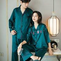 2020 Frühling und Sommer-Grün Satin Silk Paar Pyjamas Anzug Lässige Nachtwäsche Insta-Famous Lounge Wear Startseite Kleidung Schlaf Set