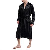 Cetim de seda Banho de homens Robe Longo Sólidos Silk Pijamas Men Pijamas quimono homme Vestir Vestido