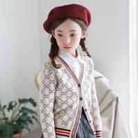 Barn Designer Cardigans Tjejer Casual Fashion Geometric Print Tröja Flickor Mode Höstrock 2020 Ny Parent-Barn Strikkad Cardigan