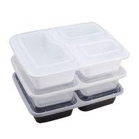 1000ml Fresh Mahlzeit Prep Container Lebensmittel Lagerbehälter Bento Box BPA frei Plastikbehälter 3-Fach mit Deckel geben Verschiffen frei