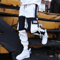 NEEDBO Çoklu Pocket Kargo Pantolon Erkekler Pantolon eşofman altı Koşucular Streetwear Hip Hop Casual Erkek Harajuku Erkekler Pant Yaz Modası