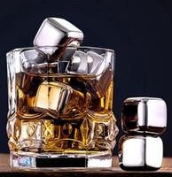Acero inoxidable piedras del whisky en los cubos de hielo glaciar más frío de piedra de las rocas whisky 8pc de cubitos de hielo + 1pcs clip de KTV La Barra de Herramientas GGA3590-1