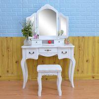 Quarto mobiliário senhora armário simples maquiagem com lâmpada luz alta extremidade real madeira thr-cor ajustável mulheres vestindo mesa