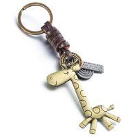 Art und Weise nette Tiergiraffe Suspension Anhänger Leder Keychain Schlüsselring-Halter-Abdeckung Ketten für Auto-Tasten-Handtasche Gepäck-Umbau