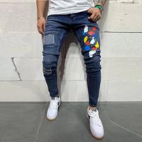 2020 Sonbahar Kış Yeni Erkek İnce Spor Jeans İş Casual Slim Stretch Denim Pantolon Açık Mavi Pantolon Erkek