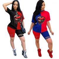 Delikler Tasarımcı Dudaklar Kadın eşofman Patchwork O yaka Kısa Kollu Bayanlar İki adet Kıyafetler Yaz Kadın Spor Casual Setleri