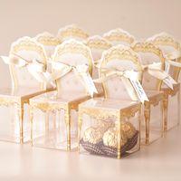 사용자 정의 플라스틱 사탕 상자 초콜릿 호의 홀더 웨딩 신부 샤워 이벤트 파티 Giveaways 손님을위한 리본으로 포장