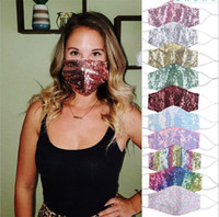 Sequin Glitter Face Mask Women Earloop Adjustable Mouth Cove...