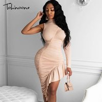 Tobinoone One Shoulder Sexy Party Dress Women Long Sleeve Sp...
