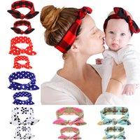 2PC / Set mamma e bambino orecchie dell'arco della fascia dei capelli degli ornamenti dei capelli del cerchio Stretch Knot Bow Cotton Fasce