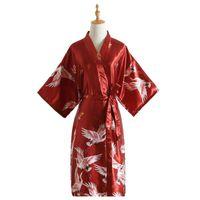 Mujer Albornoz impresión atractiva Grúas kimono novia Bata ropa de dormir la noche Grow para las mujeres satén de la manera del traje
