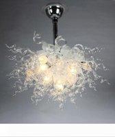 Frete grátis AC Led lâmpadas 110v 240v Home Lighting LED Arte Moderna Mão vidro fundido Chandelier Em Branco