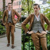 Sommer Brown Leinen Suits spitzen Revers 2 Stück Bräutigam tragen für Hochzeit formale Partei-Abschlussball-Blazer-Klage Mens Tuxedo