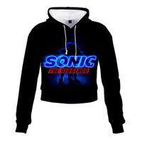 Sonic The Hedgehog 3D Print Crop Top à capuche Super Sonic Harajuku recadrée Sweat Streetwear Hip Hop Tops manches longues Pull