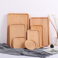 Beech bandeja de madeira Sobremesa placa de madeira Dish Serving Tray Mat Fruit tempero Titular sobremesa lanche placa Organizer Armazenamento Pads IIA274