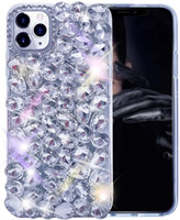 pour iPhone 12 cas 3D Glitter cas de Bling brillant cristal strass diamant clair cas pour Iphone 12 Mini 11 Pro Max Xr X 8 7 6 Samsung S20