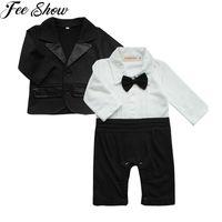 Vêtements Ensembles Anniversaire Fête Messieurs Vêtements Baby Garçons Coton Cravate 2pcs Romper et costume Outfit SZ 0-24 mois