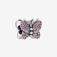 100% 925 argento sterling rosa pavimentazione a farfalla a farfalla fit fit originale europeo fascino braccialetto di fascino moda donne accessori gioielli di fidanzamento