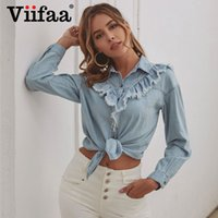 Viifaa Bleu effiloché bord volanté Button Up Denim Shirt Femme 2020 Printemps à manches longues Bureau dames Tops et chemisiers élégants