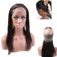 Greatremy 360 Lace friso frontal Hairpieces 22 * 4 * 2 polegadas 100% brasileira não processado Virgin Cabelo Liso Lace frontal Encerramento com cabelo do bebê