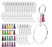 NiceCo acrilico portachiavi Blanks, trasparente cerchi intorno acrilico libero Dischi w anelli della catena / Metal Split chiave, colorato nappa Pen
