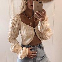 Omuz Moda Düğme Seksi Kadınlar Kapalı Meqeiss Yeni Fener Kol Dantelli Üst ve Bluz Gömlek 2020 Gömlek Şık bluzlar Tops