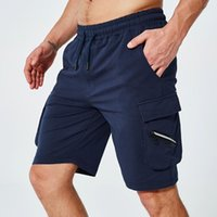 2020 herren cargo shorts sommer einfarbig baumwolle shorts männer reißverschluss multi-tasche knielänge casual taktische kurze hose