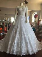 2020 الكرة ثوب الزفاف فساتين قبالة أكتاف كامل الرباط يزين مصلى قطار متواضع ويديمج أثواب الزفاف