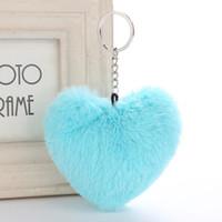 무성한 응원 키 체인 소프트 단색 하트 모양 응원 가짜 토끼 모피 공을 차 핸드백 열쇠 고리 선물 액세서리 7 색