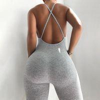 Monos de mujer Mamemos de las mujeres 2021 Verano Mujeres Sexy Deporte Punto Jumpsuit Streetwear Skinny Bodycon Backless Solid Ramper Playsuit para