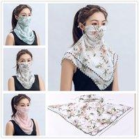 미국 주식 디자이너를 타고 쉬폰 페이스 마스크 패션 인쇄 여성 재사용 입 다채로운 선 스크린 스카프 세척 마스크 FY6134 마스크