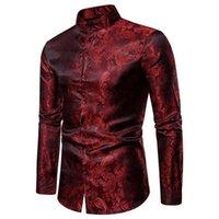 الرجال اللباس قمصان وهمية الحرير بيزلي سهرة الخريف الشارع الشهير طويلة الأكمام رجل الوقوف طوق مكتب قميص الرجال كبير وطويل الحجم xxl