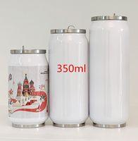 التسامي 12oz كولا يمكن زجاجة المياه مزدوجة الجدران الفولاذ المقاوم للصدأ بهلوان معزول فراغ مع غطاء فارغة أفضل ل diy