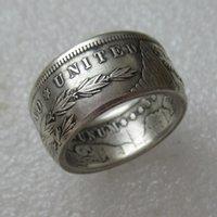 Урожай серебро ручной работы монет Кольца Morgan Silver Dollar Ring Сбор ювелирных изделий Размер 6-13