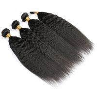 큐티클 정렬 인간의 머리카락 번들 페루 킨키 스트레이트 버진 헤어 직조 4 번들 400g 로트 자연 색상 처리되지 않은 머리카락 확장